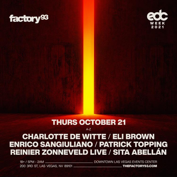 Charlotte de Witte, Reinier Zonneveld (Live), Enrico Sangiuliano + More